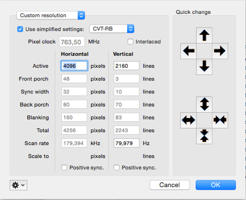 SwitchResX - Custom resolutions